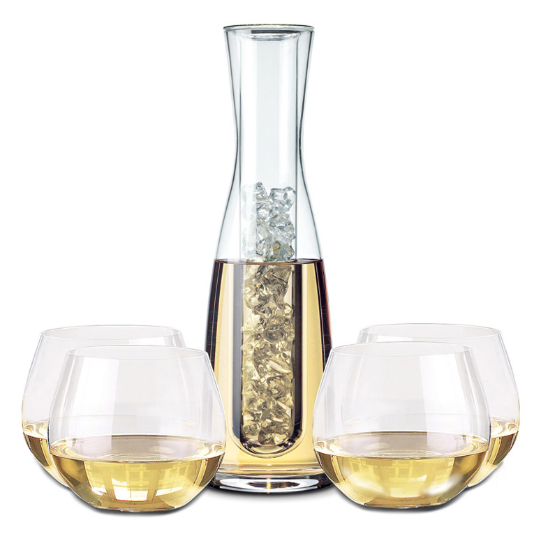 Chilling Wine Carafe and Stemless Wine Glass Set