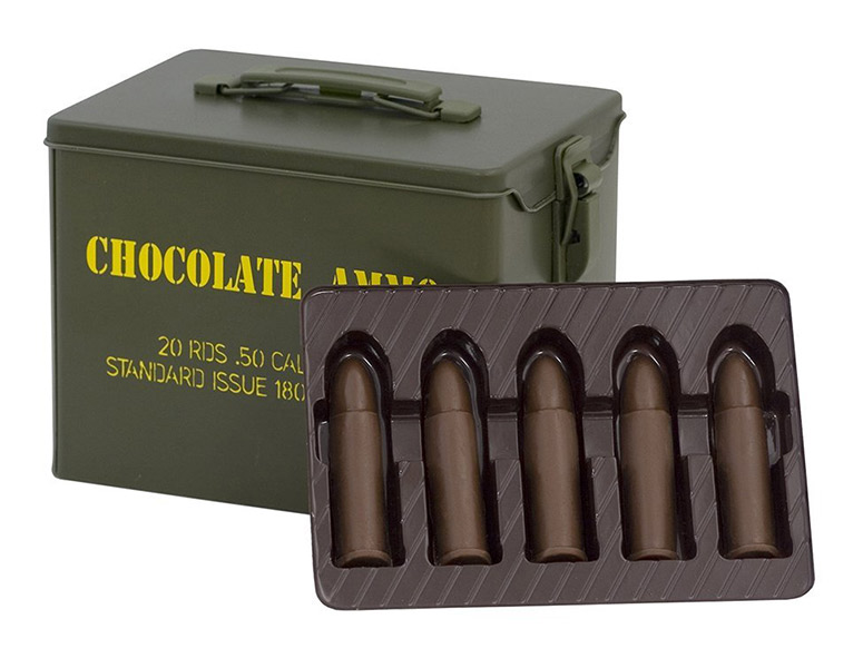 Chocolate Bullets With Metal Ammo Can