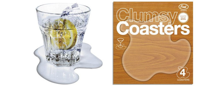 Clumsy Coasters Protect A Table With A Fake Spill The