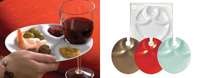Cocktail Party Plates with Built-In Stemware Holders
