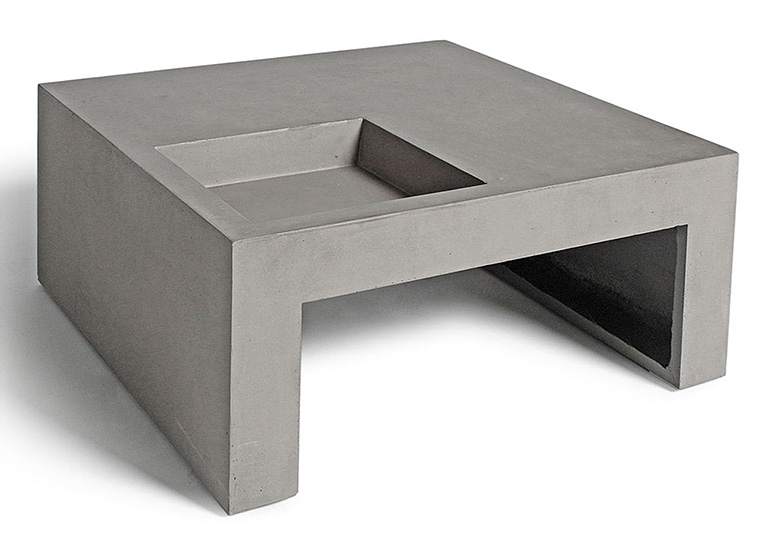 Concrete Coffee Table With Built-in Planter Box