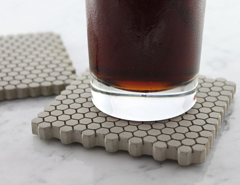 Concrete Hexagon Coasters With Cork Bottoms The Green Head - Cork coaster bottoms