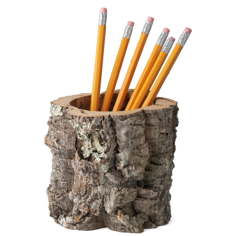 Cork Bark Pencil Holder Desktop Receptacle The Green Head