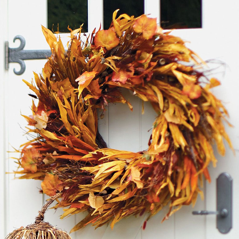 Cornstalk And Leaf Wreath