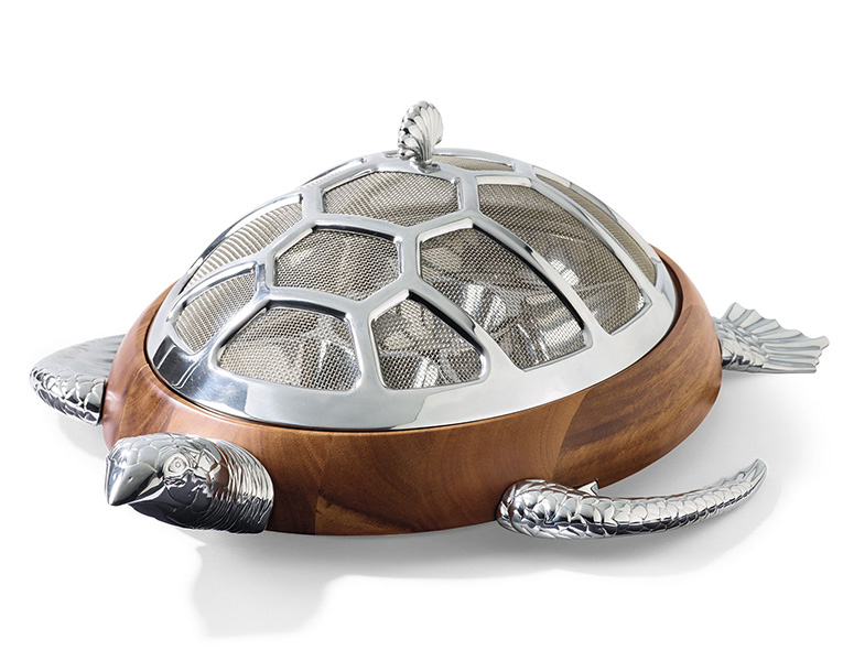 Covered Turtle Chip and Dip Server with Mesh Shell Dome