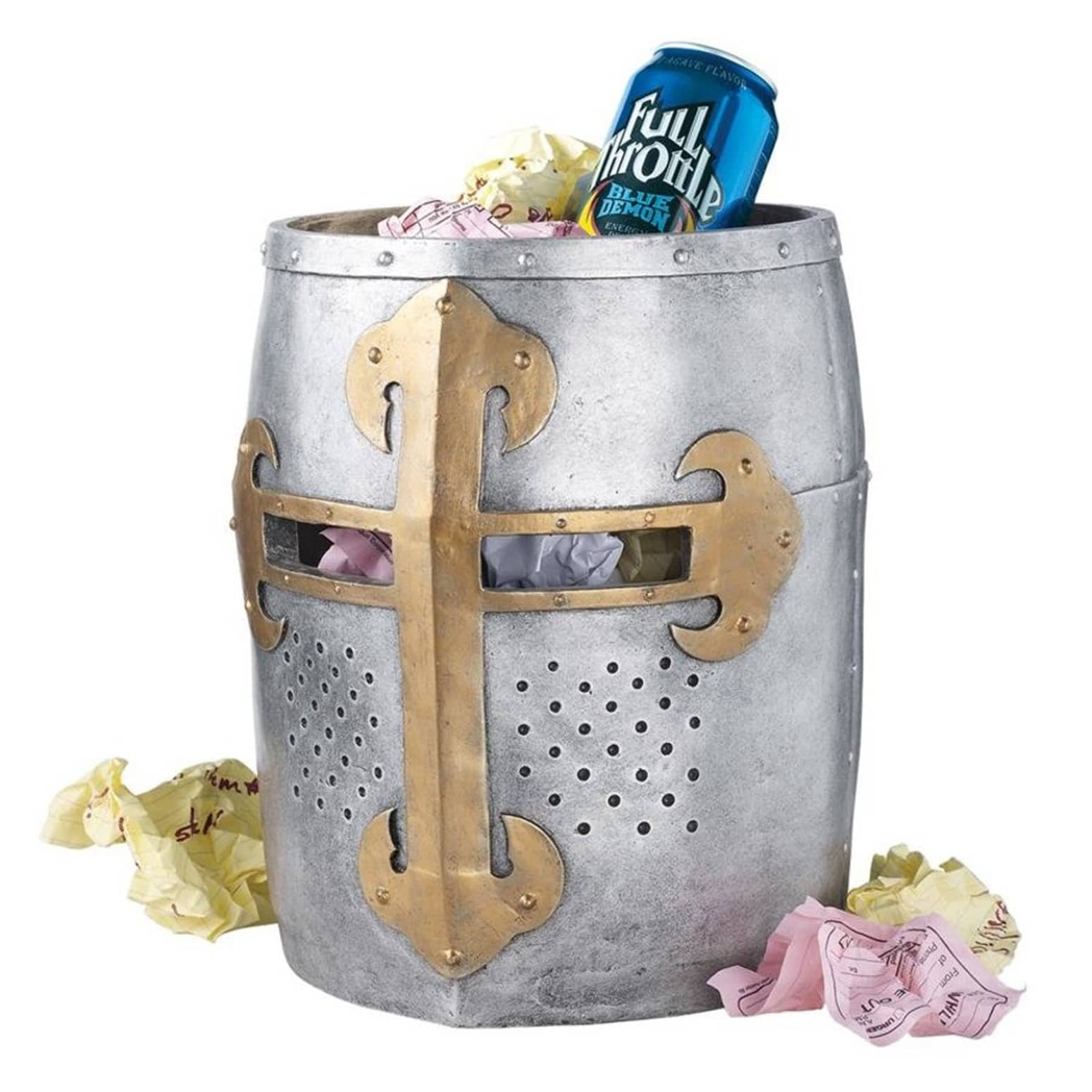 Crusader's Great Helm Gothic Trash Bin