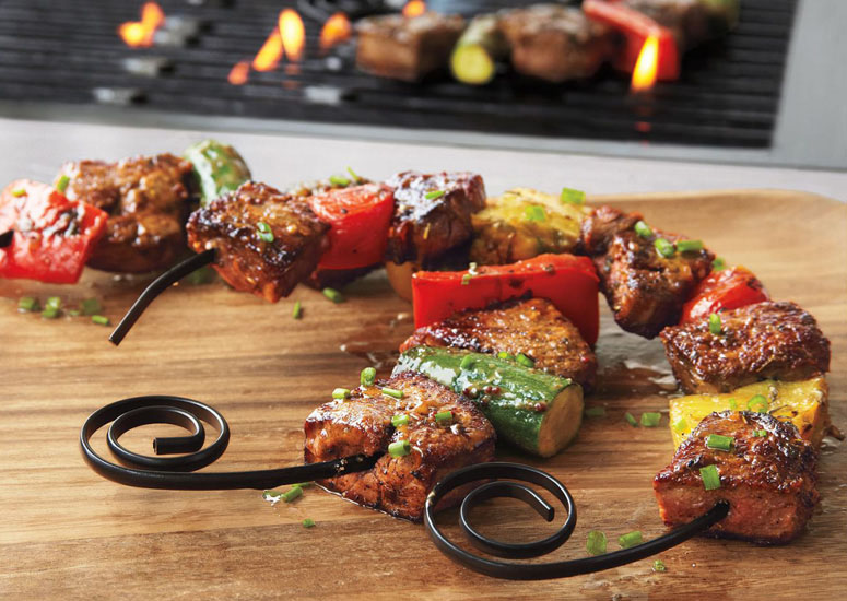 Curved Shish Kabob Skewers Fit On Your Plate The