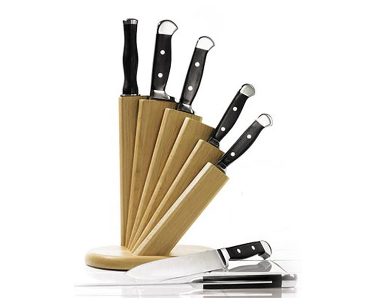 Cutlery Set with Fanned Wooden Block