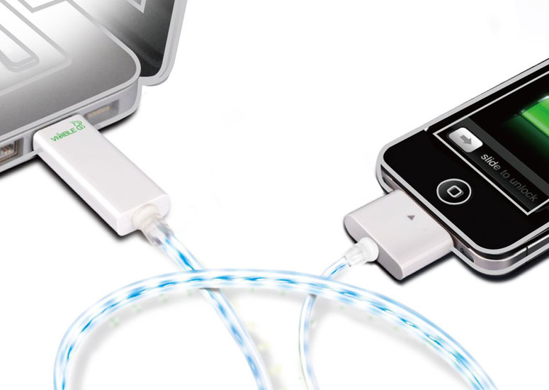 Dexim Visible Green - Illuminated Smart Charge and Sync Cable