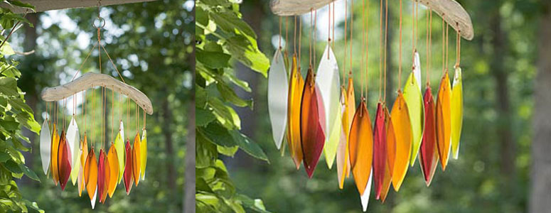 Driftwood and Glass Leaves Autumn Chimes