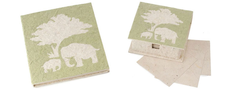 Elephant Poo Paper - Recycled Journal and Note Box