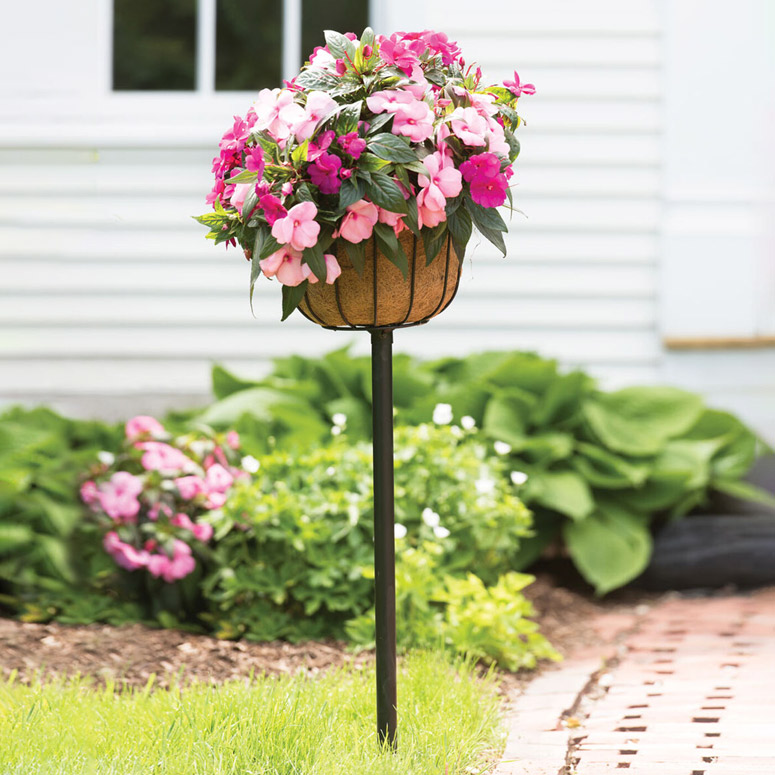 Elevated Self-Watering Flower Basket Stake Planter