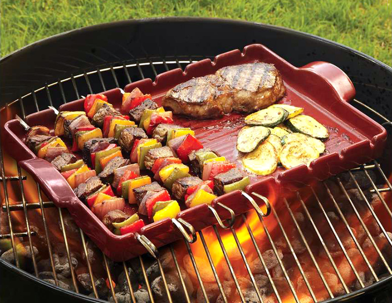 Emile Henry Kabob Grilling Stone with Skewers
