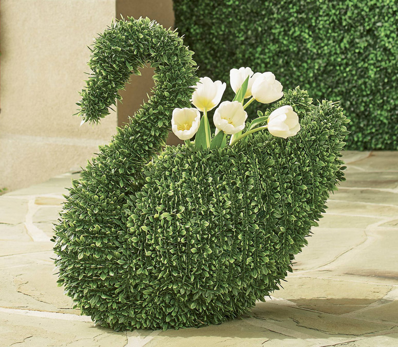 Faux Boxwood Swan Planter
