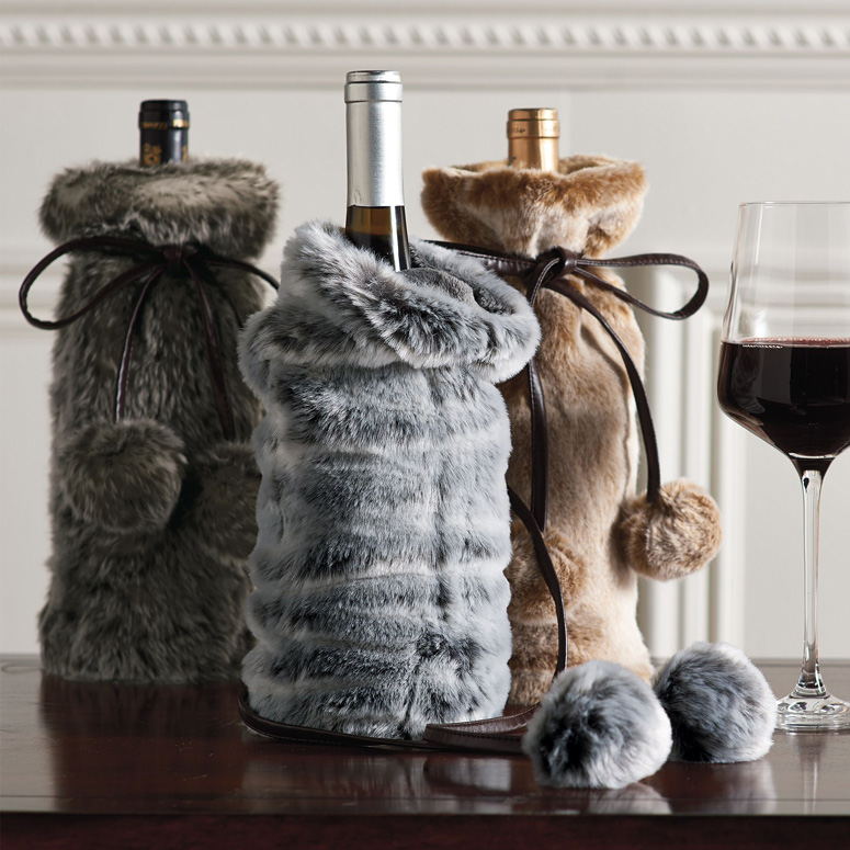 Faux Fur Wine Bottle Covers 1d8c313485