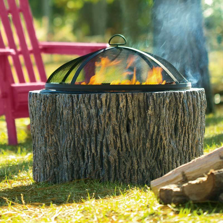 Faux Tree Stump Fire Pit