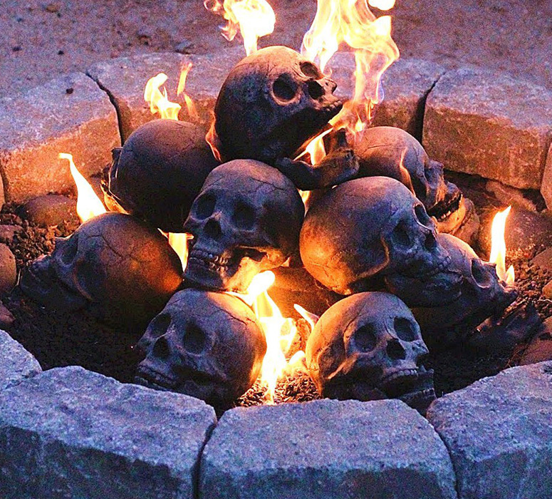 Fire Pit Skull Logs