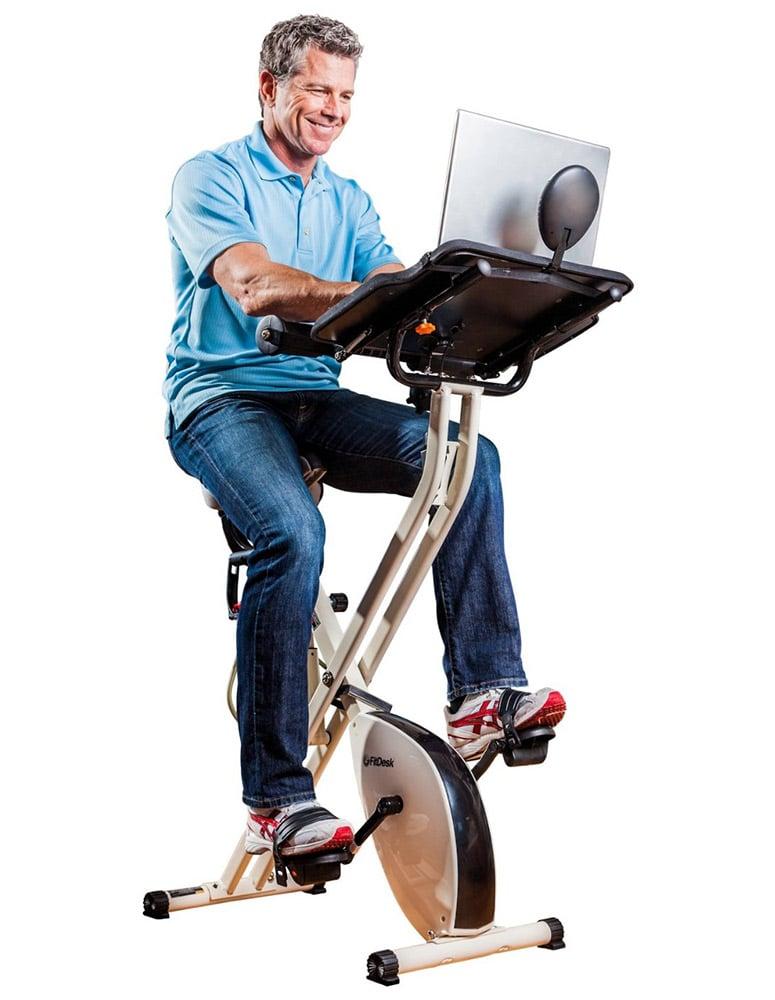 Fitdesk X1 Folding Exercise Bike With Sliding Desk Platform