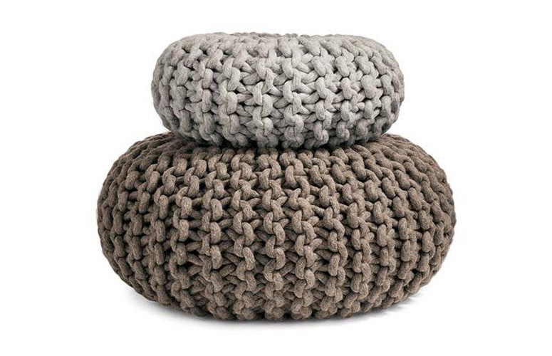 Flocks Pouf - Hand Knitted Seat, Table, Ottoman or Purely Organic Sculpture