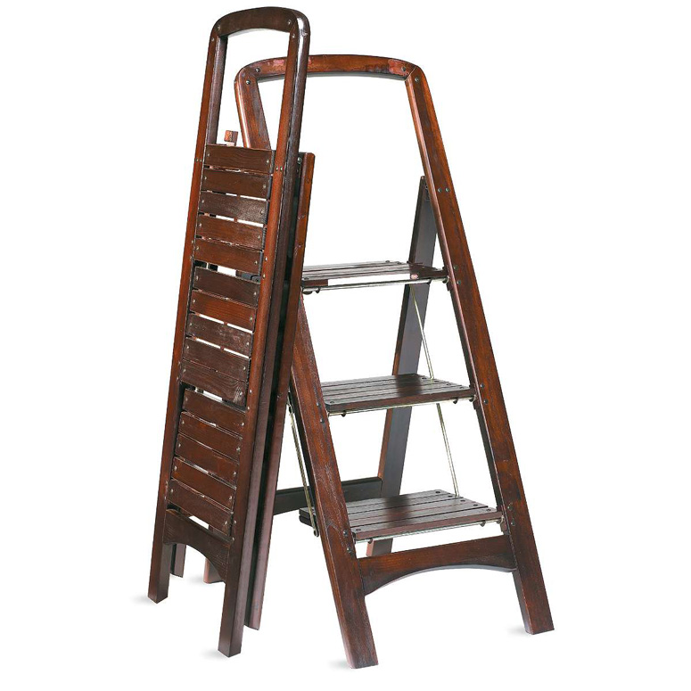 Fold Flat Mahogany Finished Wooden Stepladder