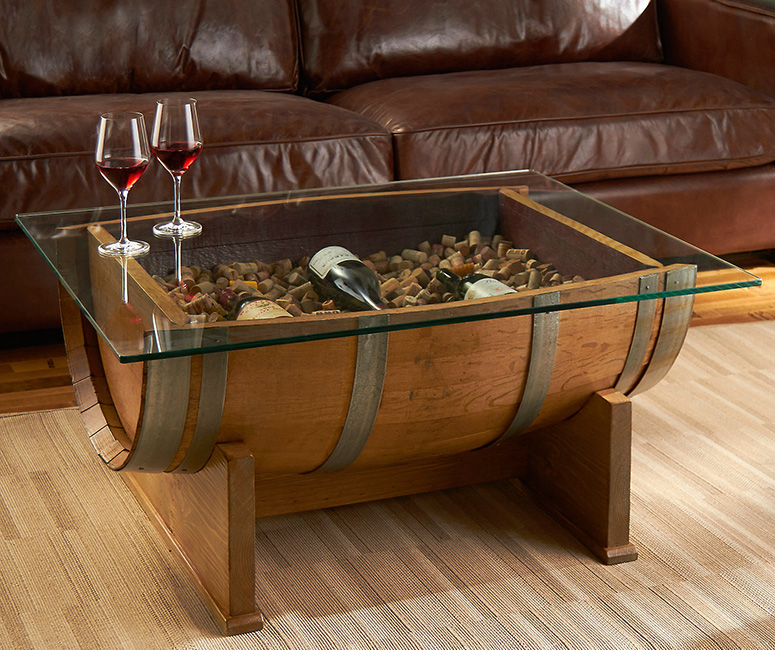 french oak wine barrel cocktail table the green head. Black Bedroom Furniture Sets. Home Design Ideas