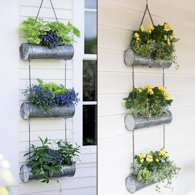 Galvanized Metal Vertical Hanging Triple Tube Planter