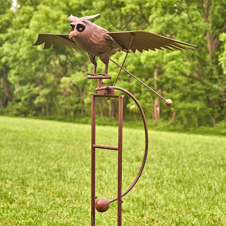 Giant Flapping Wings Owl Garden Stake /  Kinetic Metal Sculpture