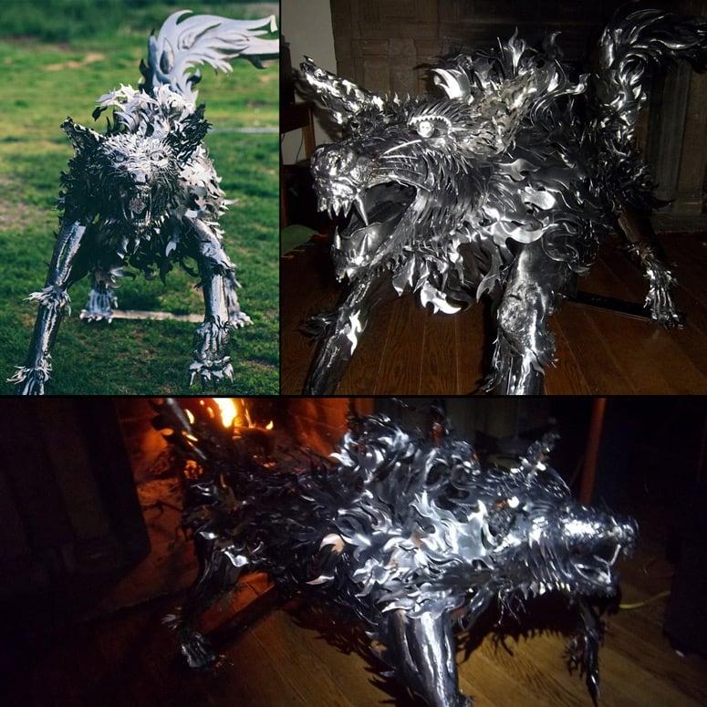 Giant Handmade Metal Wolf Sculpture The Green Head