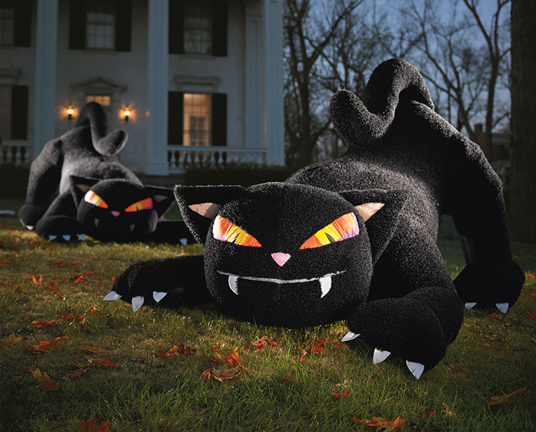 Giant Inflatable Furry Black Cat - The Green Head