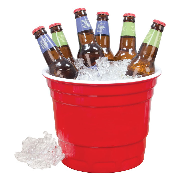 Giant Red Party Cup Ice Bucket Green Head