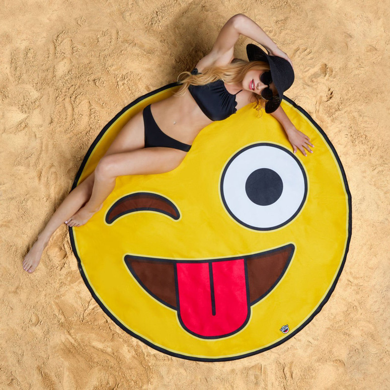 Gigantic Crazy Emoji Beach Blanket The Green Head