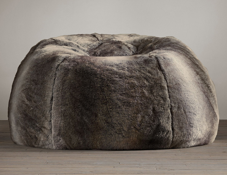 Grand Luxe Faux Wolf Fur Bean Bag Chair The Green Head
