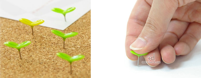 Green Pins - Sprout Push Pins