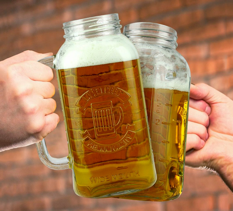 Half Gallon Mason Jar Beer Stein