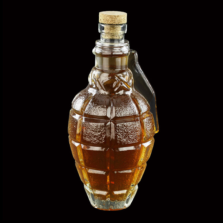 Hand Grenade Glass Whiskey Decanter