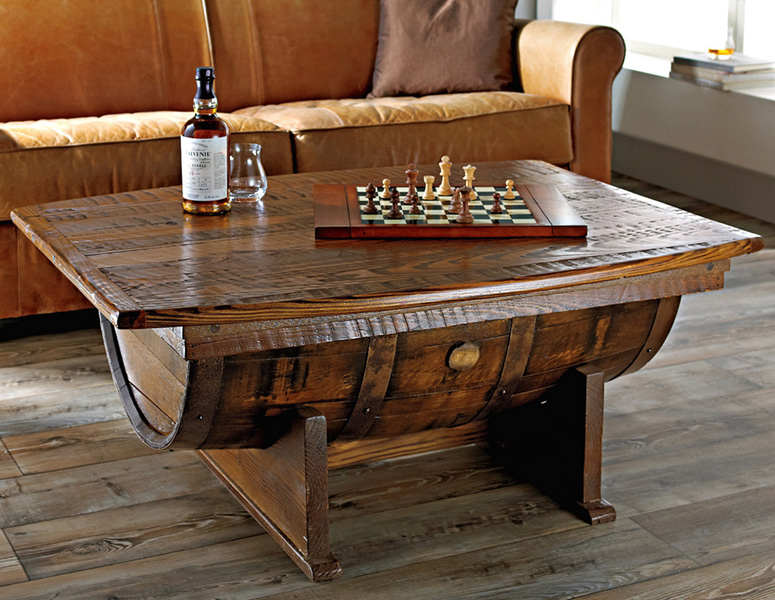 Handmade Vintage Oak Whiskey Barrel Coffee Table The Green Head
