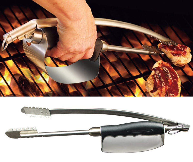 Heat Shield Stainless Steel Grill Tongs
