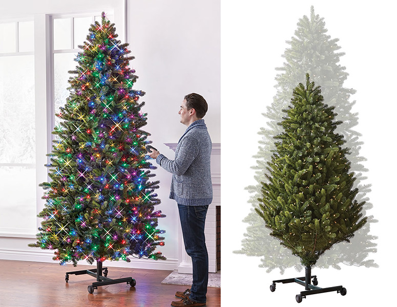 height adjustable christmas tree raise lower for ladder free trimming