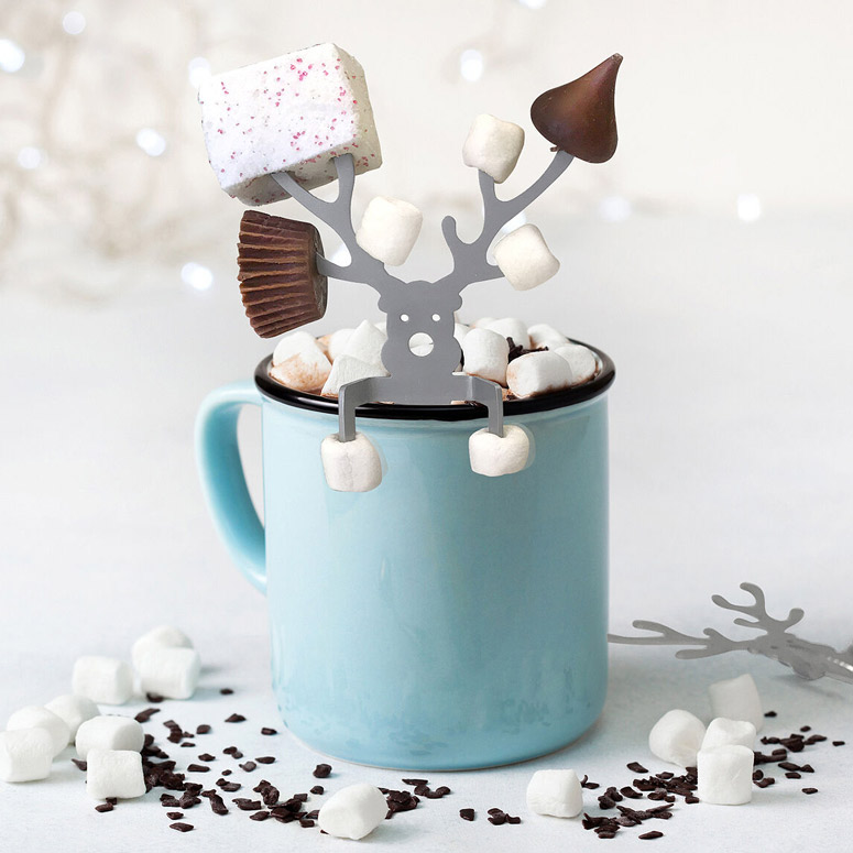 Hot Cocoa Reindeer Buddy - Holds Marshmallows, Candy Canes, Gumdrops, Cookies, and More