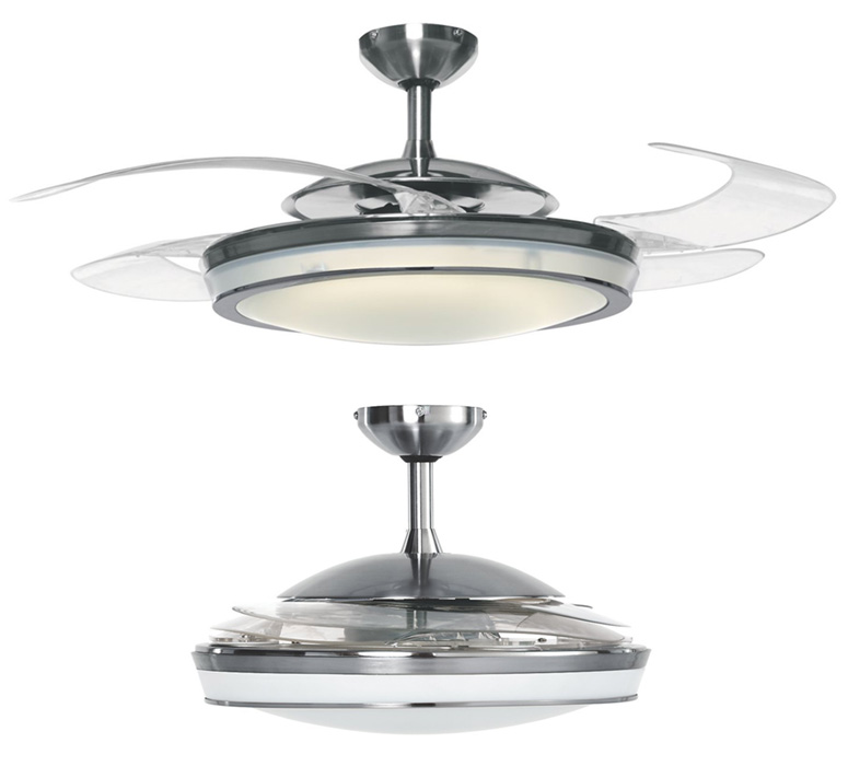 Brushed Chrome Hunter FanawayR 48 Ceiling Fan W Clear