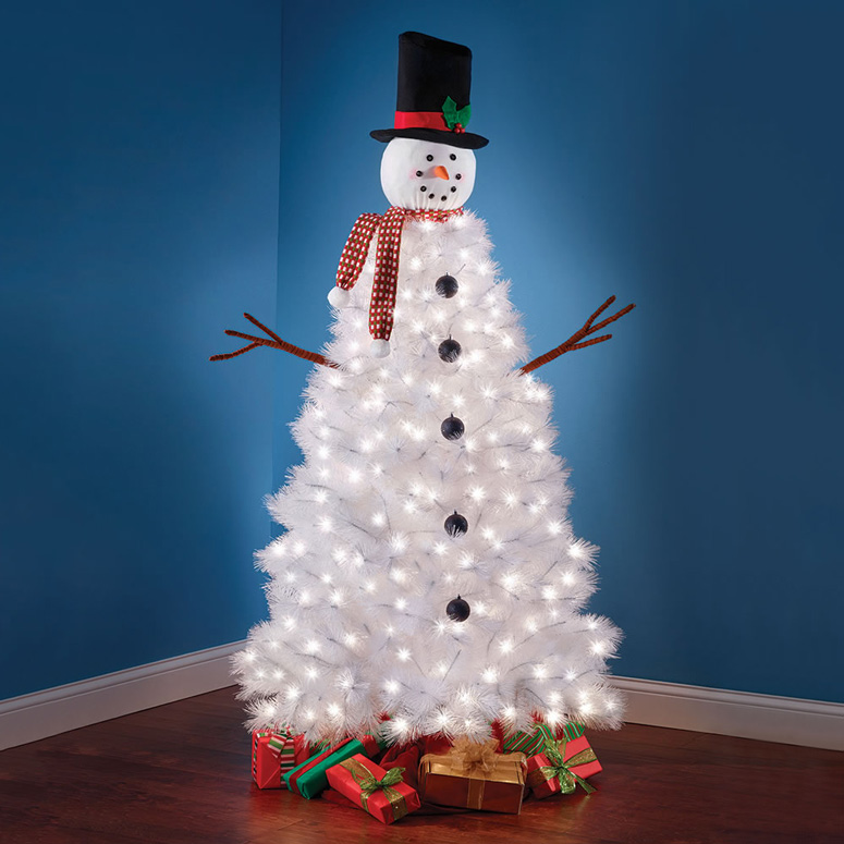 illuminated snowman christmas tree - Snowman Christmas Tree Decorations