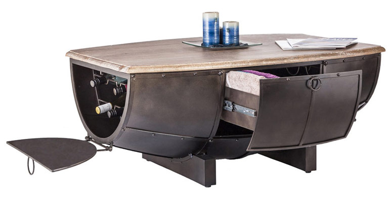 Industrial Half Barrel Coffee Table w/ Wine Storage