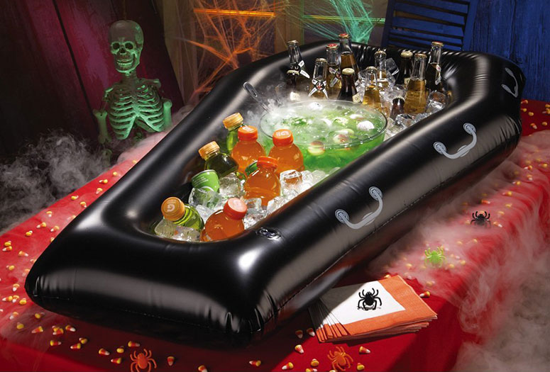 DIY coffin cooler for Halloween party. Halloween drinks Halloween Party & Decor Halloween Stuff! HOLIDAYS: Halloween! Bachelor Party 's Coffin shaped tables and tombstone chairs. I wouldn't personally do this but this is a cute idea for a vampire themed wedding or just any smolinwebsite.ga be cute for a bachelor party too since he's gong to be a.