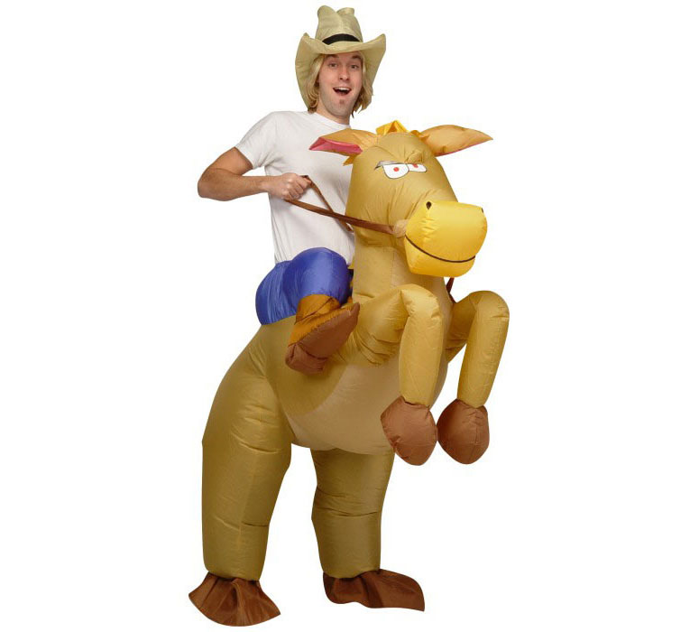 Inflatable cowboy riding on horse illusion costume the green head
