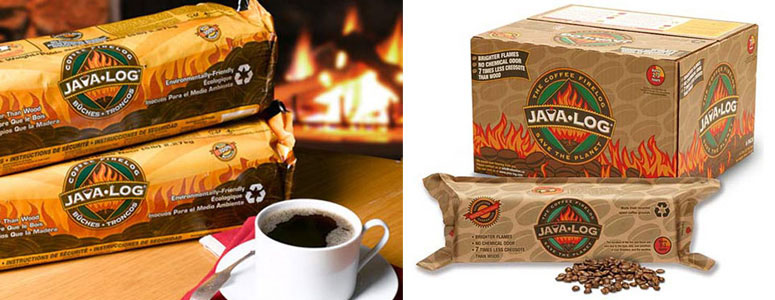 Java Log - Recycled Coffee Grounds Fireplace Logs