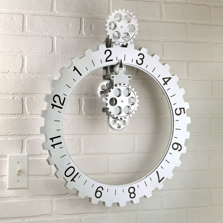 Kikkerland Big Wheel Revolving Gear Wall Clock The Green