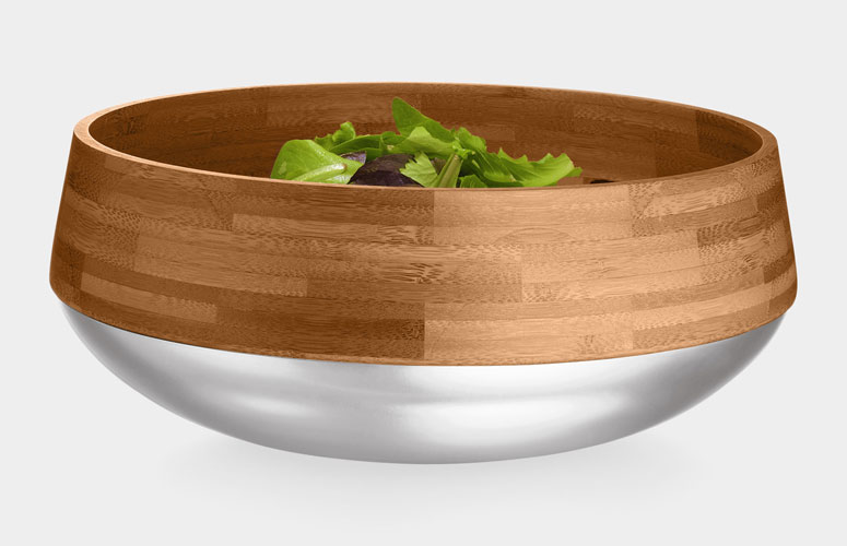 Kontra - Bamboo Salad Bowl With Stainless Steel Base
