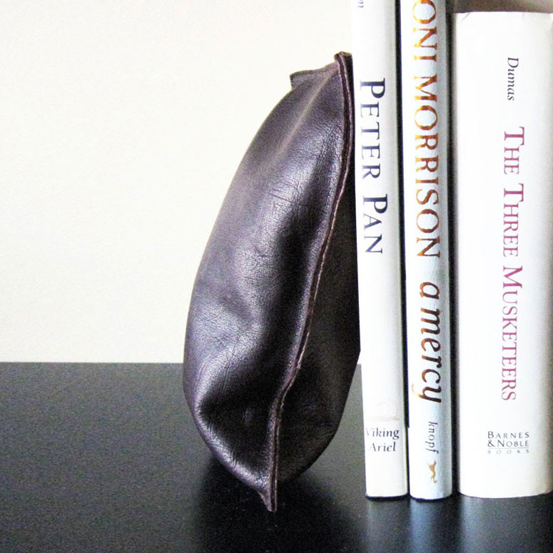 Leather Beanbag Bookends