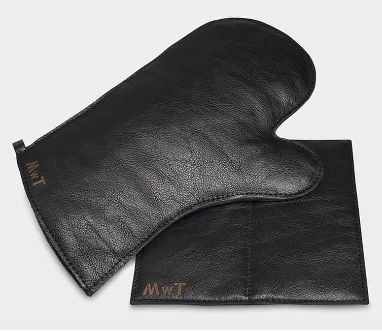 Leather Oven Mitt And Pot Holder Set