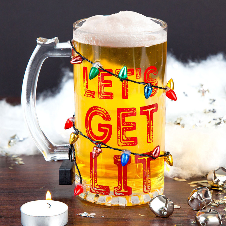 Let S Get Lit Light Up Led Holiday Beer Glass